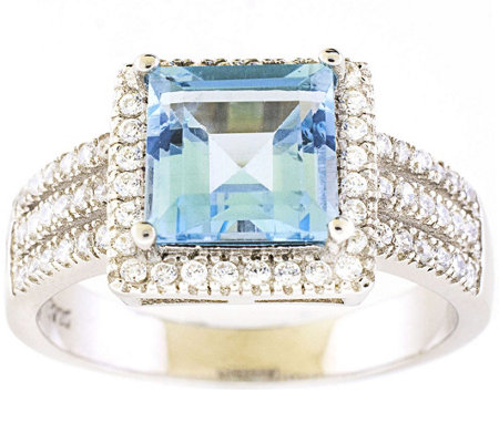 Sterling 2.70 cttw Blue & White Topaz Ring