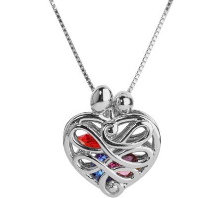 Loving Family Sterling Silver Birthstone Crystal Heart Locket