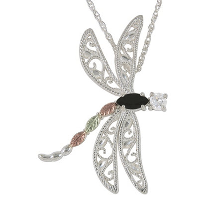 Black Hills Dragonfly Pendant w/ Chain, Sterling/12K Gold