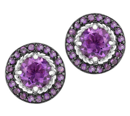 Sterling 2.50 cttw Round Amethyst Halo Stud Earrings