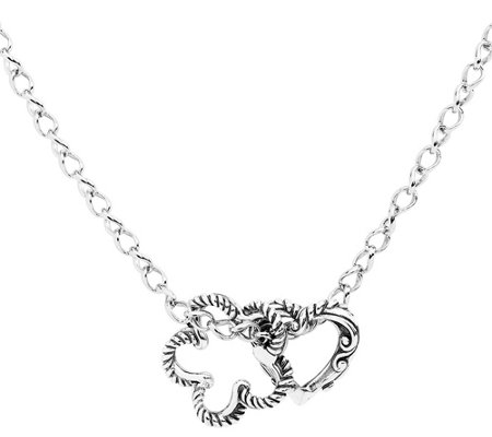 "Carolyn Pollack Sterling 17"" Flower and Heart Charm Necklace"