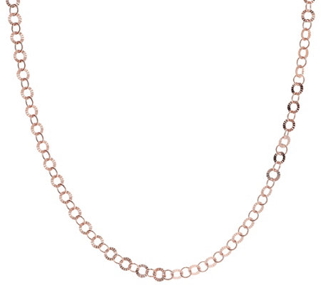 "Bronzo Italia 16"" Starburst Diamond Cut Round Link Necklace"