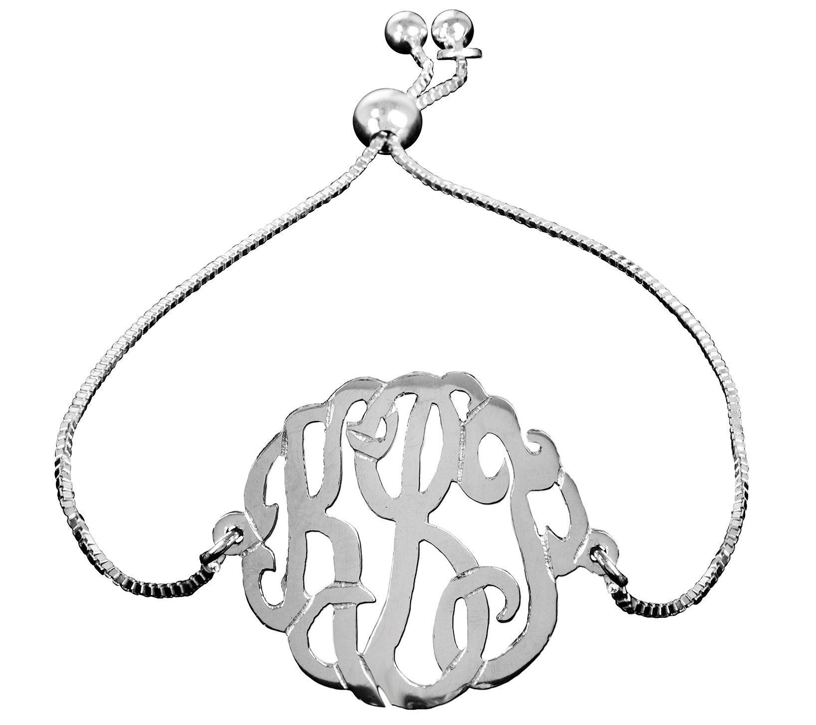 sale prices jewelry qvc Flag Pole Stoppers personalized sterling monogram adjustable bracelet j388165
