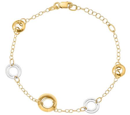 Italian Gold Two Tone Oversized Round Link Bracelet 14k Gold