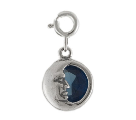 Sterling Moon Charm with Blue Cubic Zirconia Accent