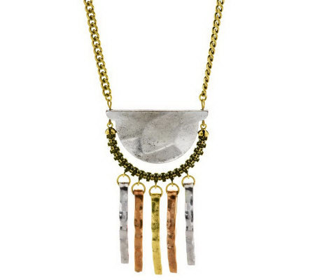 Hammered Tassel Aztec Necklace