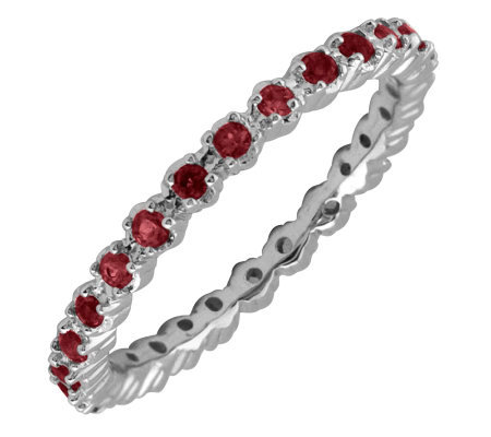 Simply Stacks Sterling Prong Garnet Eternity Stackable Ring