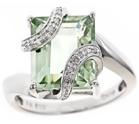 Sterling Gemstone & White Diamond Accent Ring