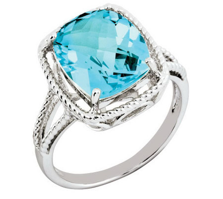 Sterling Elongated Cushion-Cut Gemstone Ring