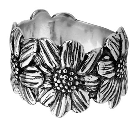 Or Paz Sterling Sunflower Band Style Ring