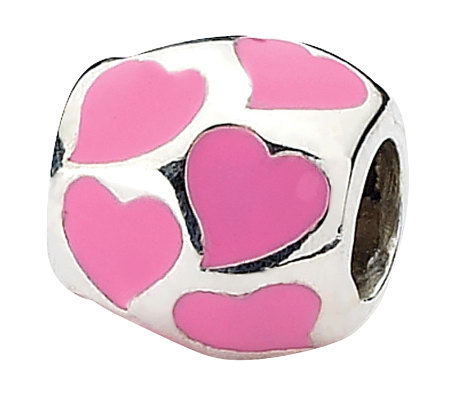 Prerogatives Sterling Pink Hearts Barrel Bead