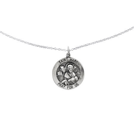 "Sterling Saint Mark Round Solid Pendant w/ 18""Chain"