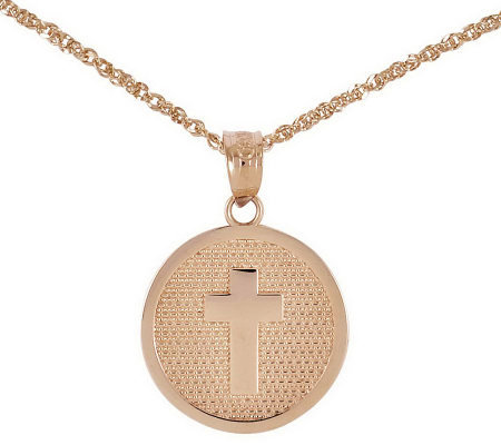 "Polished Choice of God Bless Round Pendant w/ 18"" Chain, 14K"