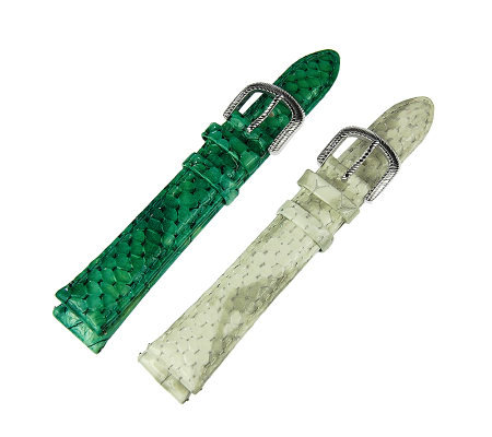 Judith Ripka Set of 2 Snakeskin Leather Watch Straps