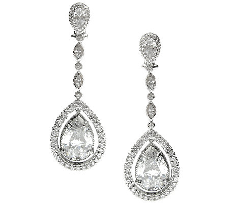 Judith Ripka Sterling 20.45ct tw Diamonique Dangle Earrings