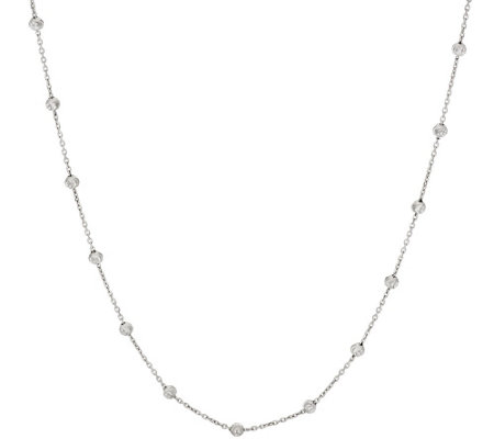 "Vicenza Silver Sterling 36"" Diamond Cut Bead Station Necklace, 6.8g"
