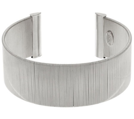 Italian Silver Sterling Polished Wire Wrapped Cuff Bracelet, 32.1g