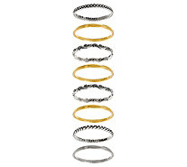 Or Paz Sterling Silver Set of 8 Stack Rings - J331466