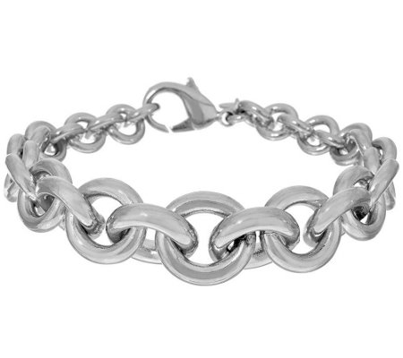 """As Is"" Bronzo Italia Polished Rolo Link Bracelet"