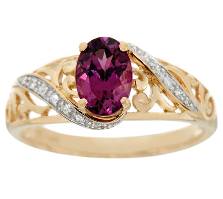 Purple Rhodolite Garnet & Diamond Ring 14K, 0.70 ct