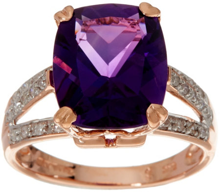 Elongated Cushion African Amethyst & Diamond Ring 14K, 4.00 ct