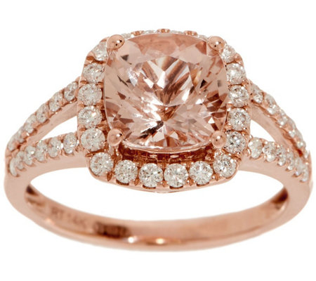 Cushion Cut Morganite and Diamond Ring, 2.00 cttw, 14K
