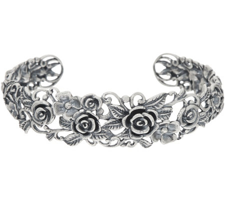"""As Is"" Sterling Silver Rose Garden Cuff by Or Paz 23.0g"