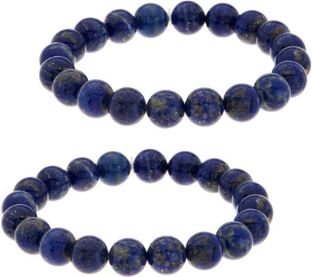 Set of 2 10.0mm Bead Gemstone Stretch Bracelets