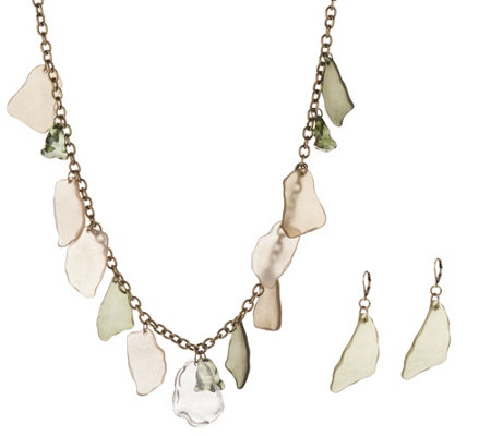 Linea by Louis Dell'Olio New Beach Glass Necklace & Earring Set