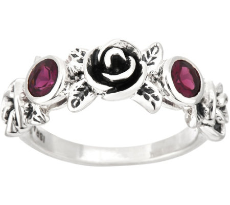 Or Paz Sterling Silver Rhodolite Rose Band Ring