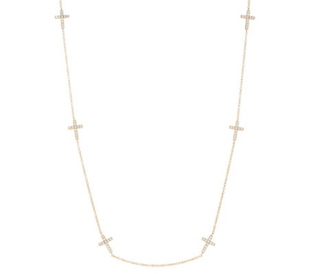 "Diamonique 24"" Circle or Cross Station Necklace, Sterling"