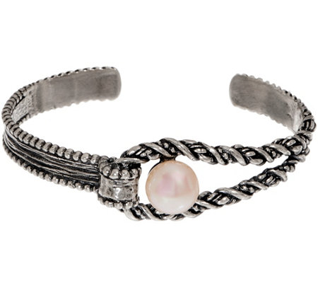 Or Paz Sterling Silver Cultured Pearl Textured Cuff 18.0g
