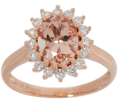 Morganite and Diamond Scalloped Design Ring, 1.50 cttw, 14K