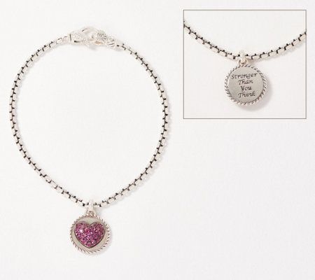 "JAI Sterling ""Stronger Than You Think"" Box Chain Charm Bracelet"