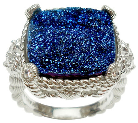 Judith Ripka Sterling Diamonique & Choice of Drusy Stone Ring