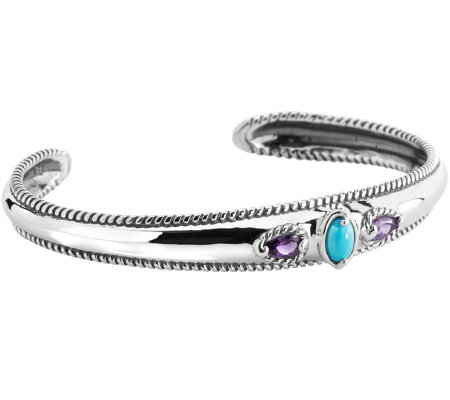 Carolyn Pollack Amethyst & Sleeping Beauty Turquoise Cuff