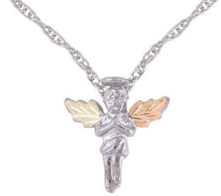 Black Hills Angel Pendant w/ Chain Sterling/12K