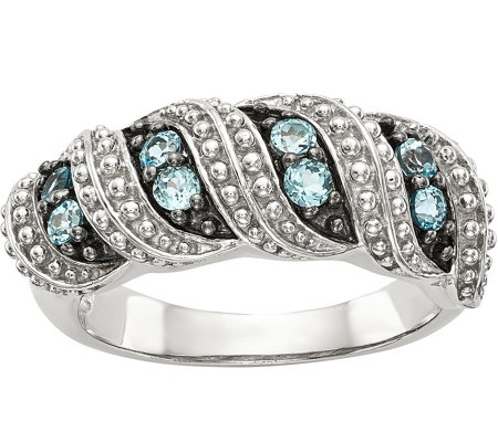 Sterling 0.30 cttw Swiss Blue Topaz Beaded Ring