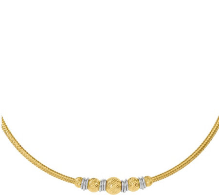 "14K Gold Two-Tone Bead & Circular Rings 17"" Necklace, 10.5g"