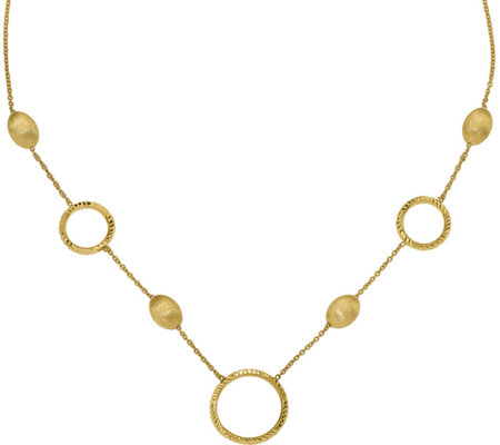 14K Satin Beads & Round Link Station Necklace,6.3g