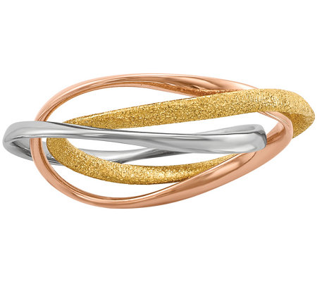 Sterling, 14K Gold & Rose Gold-Plated Intertwined Rolling Ring
