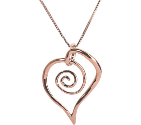 Loving Family Sterling & 14K Spiral Heart Necklace