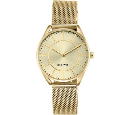 Nine West Ladies Goldtone Layniee Mesh BraceletWatch