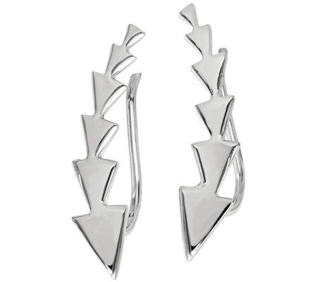 Italian Silver Polished Arrow Ear Climber Earrings
