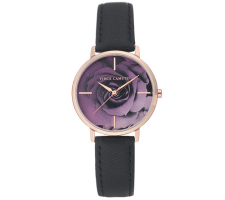 Vince Camuto Women's Purple Rose Black LeatherStrap Watch