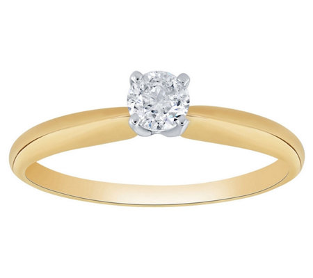 Affinity 14K Gold 1/4 cttw Round Solitaire Diamond Ring