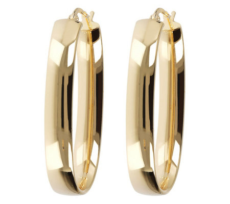 Veronese 18k Clad 1 1 2 Oval Elongated Hoop Earrings