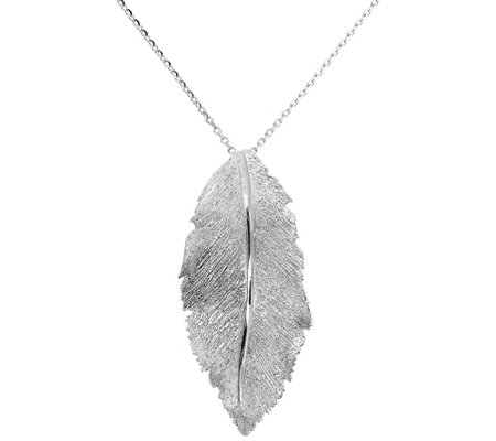 Italian Silver Diamond Cut Leaf Pendant W Chain 7 0g
