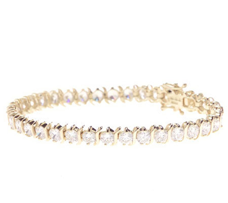 Diamonique 7 S Bar Tennis Bracelet 14k Gold