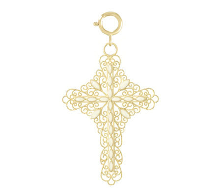 White Enamel Filigree Cross Charm, 14k